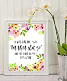 """Wise Quote - A wise girl once said """"let that shit go"""", - Inspirational Quote - Quote Print - Floral Print - Printable Décor - College Dorm Room Decorations - Wall Art – funny wall decor"""