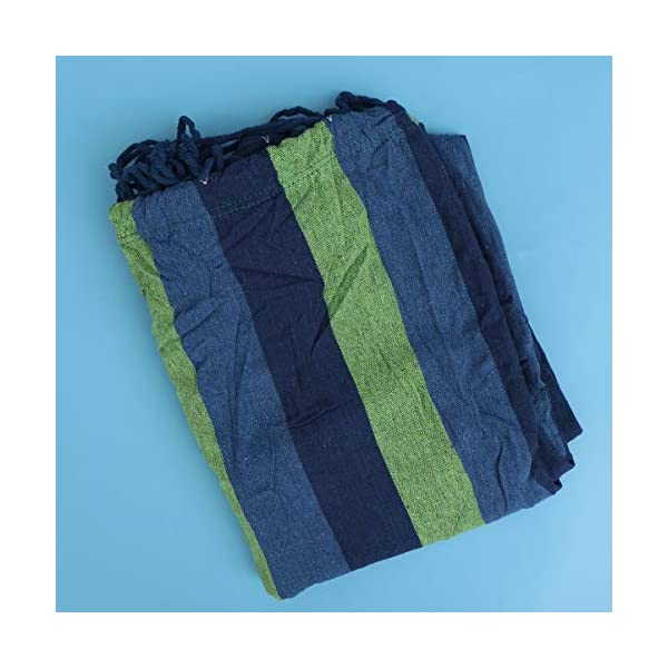 BESPORTBLE Outdoor Canvas Hammocks Anti-roll Leisure Foldable Stripe Swing for Camping Backpacking Travel 190x150cm Blue BESPORTBLE Foldable, easy to use and convenient to carry. Only to fold your hammock, you can carry it conveniently. The hammock is made of premium material which is very comfortable and durable for use, and features stripes pattern. 5