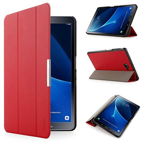 iHarbort® Premium Hülle für Samsung Galaxy Tab A 10.1 (SM-T580/T585) - Samsung Galaxy Tab A 10.1 hülle Etui Schutzhülle Case Cover Holder Stand mit Smart Auto Wake/Sleep-Funktion (Rot)