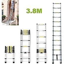 Escalera extensible telescópica de casa portátil de aluminio plegable Climb 13pasos luz peso kg–altura de 3,8M/carga para Multi Purpose UK Stock