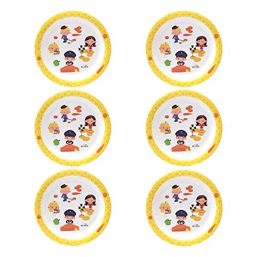 BlueBand Melamin Camping Teller, Kinderteller, flache Teller, Suppenteller, tiefe Teller mit Kinder Berufsmotiven, Farbe:6 flache Teller gelb