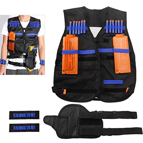 NUOLUX Kit de chaleco táctico para la serie élite de la N-huelga de los armas de Nerf + 20pcs bullets huecos + 2pcs Caso de la bala + 1pcs Pistola del arma + 2pcs Bullet Wristbands