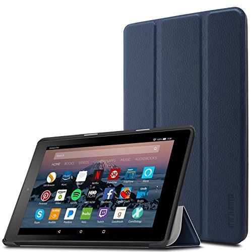 Infiland Hülle für Amazon Fire 7 Tablet (7-Zoll, 7. Generation - 2017) - Slim Cover Lightweight Schutzhülle Tasche mit Standfunktion und Auto Schlaf / Wach Funktion(Dunkleblau)