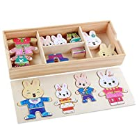 CCINEE 72 Pieces Wooden Rabbit Puzzle Play Toys Wooden Rabbit Family Dress Up Puzzle Games for Grils