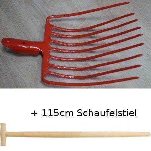 Steingabel mit 9 Zinken geschmiedet + T-Schaufelstiel 115 cm