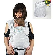 Portador De Bebé SWEETBB Fular Portabebés para Los Recién Nacidos y Niños Pequeños - Suave y Cómodo (Gris)