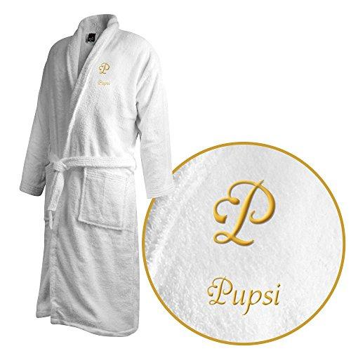 Bademantel mit Namen Pupsi bestickt - Initialien und Name als Monogramm-Stick - Größe wählen White