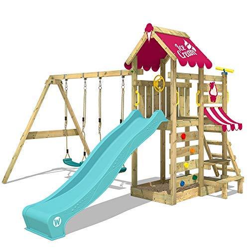 WICKEY Spielturm VanillaFlyer Kletterturm Spielhaus auf Podest mit Doppelschaukel und Rutsche