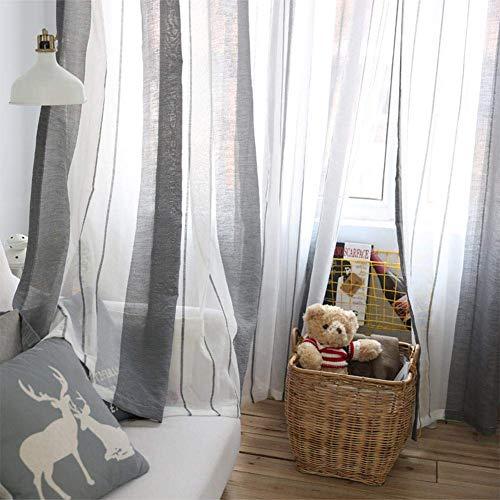 KIOPS Voile Vorhang Ösen, Gestreifte Grau-Weiße Dekoration für Arbeitszimmer, Wohnzimmer, Schlafzimmer, 100x 250cm, Passen Universalgardinenstangen, Halbtransparent -