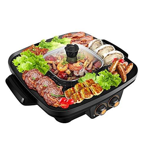 OhLt-j Elektrischer Multi-Kocher, Korean Barbecue Hot Pot Doppel-Kocher, Rauchfreier und Antihaft-integrierter Kocher, Elektrischer Hot Pot Elektrischer Grill Elektrische Backform