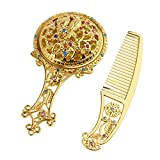 MagiDeal Retro Rhinestone Antique Plated Hollow Oval/Round Makeup Handle Hand Held Mirror Metal Comestic Hair Comb Suit Set - Round Gold, as described