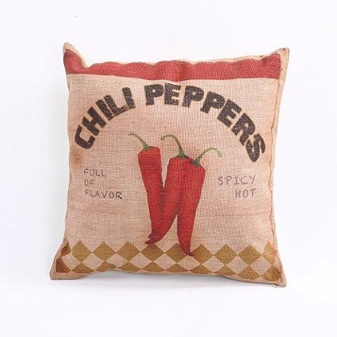 Createforlife quadrata, per la casa, in cotone e lino federa Chili Pepper Spicy Hot Throw Pillow Sham cuscino Cover 18