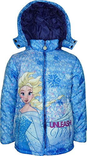 Bambine e ragazze disney frozen giacca con cappuccio invernale blu-8 anni / 128 cm