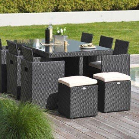 Encastrable 10 places en résine tressée, plateau aluminium: 1 table + 6 fauteuils + 4 poufs - NOIR