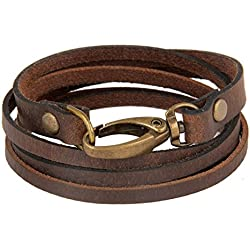 The Jewelbox Genuine Brown Leather Bangle Bracelet For Men