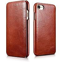 FUTLEX - Custodia a libro per iPhone 7 in vera pelle e in stile vintage - Marrone - Design esclusivo - Ultra sottile - Taglio e design precisi - Artigianale