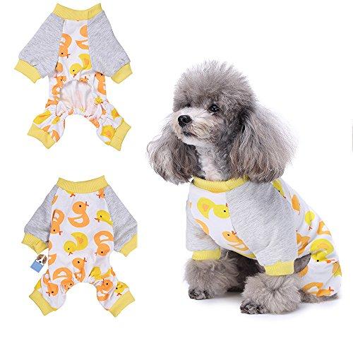 Yellow Duck pigiama cucciolo di cane vestiti comodi Pyjamsa morbido Dog tuta maglietta 100% cotone cappotto per cani di piccola taglia e gatti di Hongyh