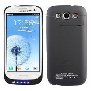 Externe Coque Batterie (2200 mAh) pour Samsung Galaxy S3 i9300 (Avec Kick Stand Media) en NOIR