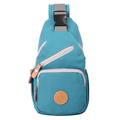 Eshow Damen Canvas Freizeit Täglich Umhängetasche Schultertasche Taschen, Blau