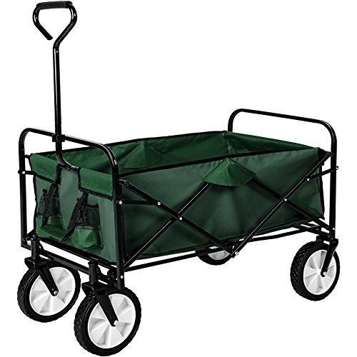 TecTake Faltbarer Bollerwagen mit Netztaschen | 98 x 55 x 122 (LxBxH) | -diverse Farben- (Grün | Nr. 402596)