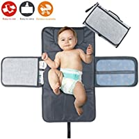 Idefair Portable Nappy Changing Mat,Waterproof Diaper Changing Pad with Head Cushion Pockets,Foldable Infant Urinal Pad Baby Changing Kit for Home Travel Outside