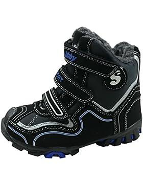 gibra Sneaker Stiefel für Kinder, Art. 5827, warm gefüttert, mit Klettverschluss, schwarz/blau, Gr. 24-35