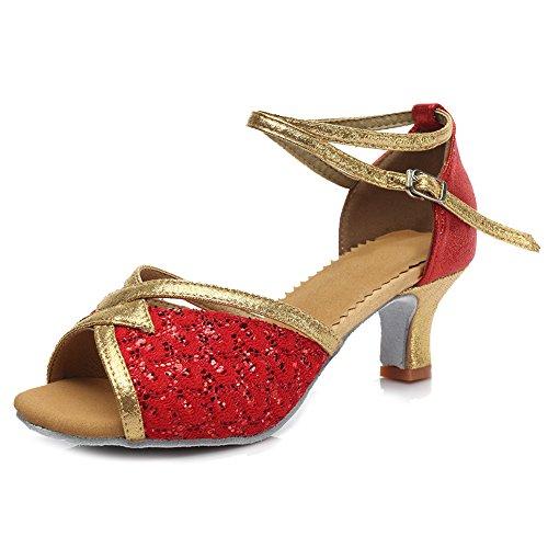 YKXLM Donna & Bambine Paillettes Scarpe da Ballo Latino/Standard Ballroom Sala da Ballo Scarpe,Modello-ITMF1818-5 Rosso