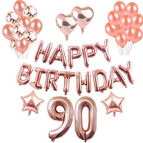 Weimi 90th Birthday Decorations Rose Gold For Women Inflating Foil HAPPY BIRTHDAY Banner Star Heart Balloon Confetti Latex Balloons With Clear String