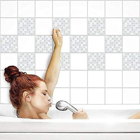 Fliesenaufkleber für Küche und Bad | Fliesenfolie für 20x25cm Fliesen | Mosaik Weite matt | 8 Stück | Klebefliesen günstig in 1A Qualität von PrintYourHome