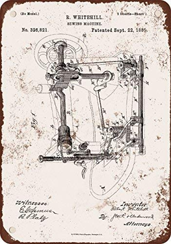 BDTS 1885 Whitehill máquina de coser Patent, diseñ Metal Tin Sign 8X12 inches