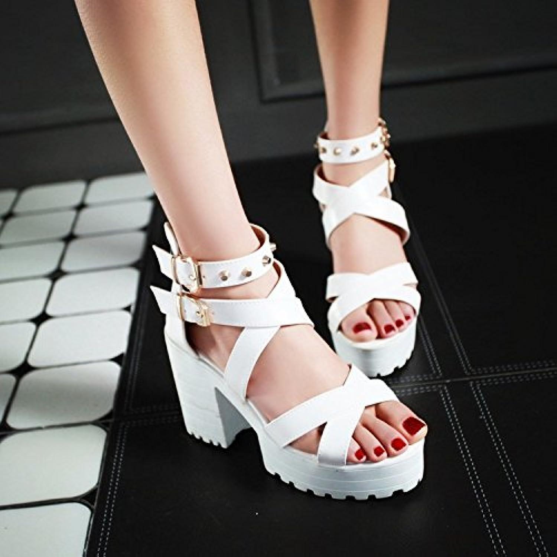 JUWOJIA Verano Sandalias Mujer Sandalias De Tacón Alto Verano Mujer Señoras Zapatos De Tacón DE 10,5 Cm De Altura... -