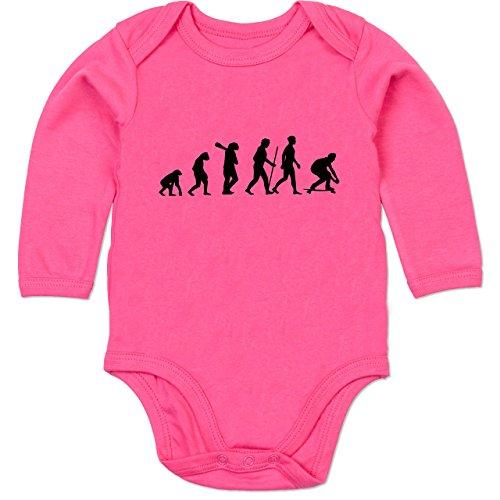 Skateboard-baby-kleidung (Shirtracer Evolution Baby - Skateboard Evolution - 12-18 Monate - Fuchsia - BZ30 - Baby Body langarm)
