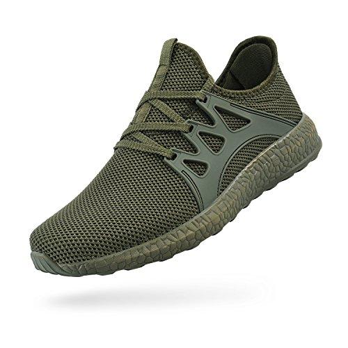FiBiSonic Damen Herren Laufschuhe Sportschuhe Fitness Sneakers Trainers für Running Outdoor Army Grün 39 (Schuhe Grün Running)