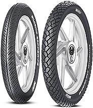 MRF Nylogrip Zapper-FS 80/100 -18 47P Tubeless Bike Tyre, Front & MRF Mogrip Meteor-M 80/100 -18 54P Tubel