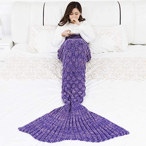 YOWAO Meerjungfrau Decke, Fisch Skala Muster alle Jahreszeiten Schlafsack (Lila -1, Teenager)