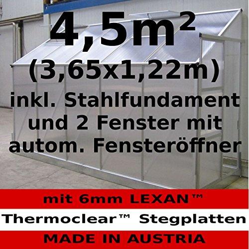 Komplett Set: 4,5m² Profi - Anlehn Gewächshaus Anlehngewächshaus Glashaus m. 6mm Hohlkammerstegplatten - (Platten MADE IN AUSTRIA) mit 2 Fenster mit autom. Fensteröffnern und Stahlfundament von AS-S