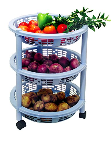 Princeware Maria 3 Rack Big Trolley, Blue