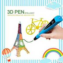 Bolígrafo 3D para Dibujar en Relive Compatible con PLA & ABS Filamento Perfecto para Niños y Adultos - 2x 1,75mm PLA Filamentos(5m) o 1x 1,75mm PLA Filamento(10m) + Adaptador + Cartón de Copia de Dibujo + Manual de Usuario, Azul