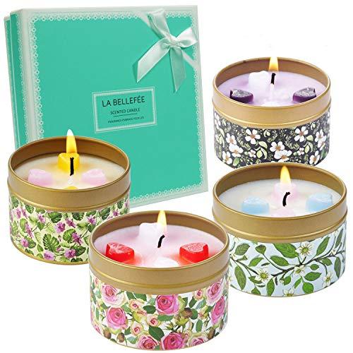 LA BELLEFÉE Duftkerze Sojawachs Kerze Blume Duft Aromatherapie Geschenkset für Hochzeiten, Party und Dekorationen für Zuhause (4 x 90g) -