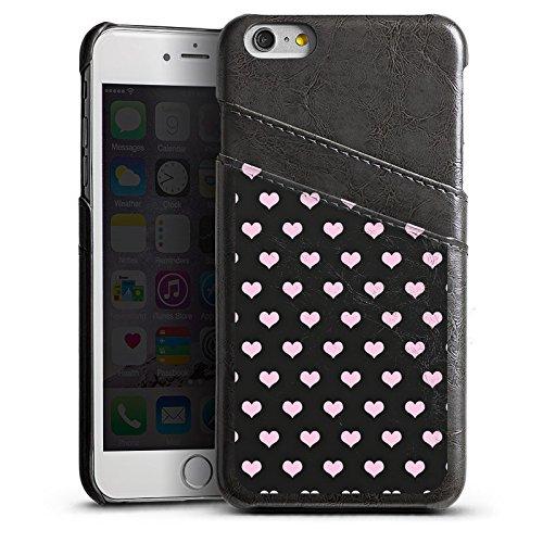 Apple iPhone 5s Housse étui coque protection C½urs Rose vif Motif Étui en cuir gris