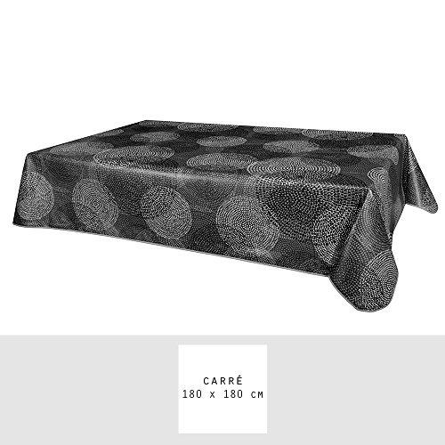Nappe - Toile cirée - Carrée - 180 x 180 cm - Tourment - Gris