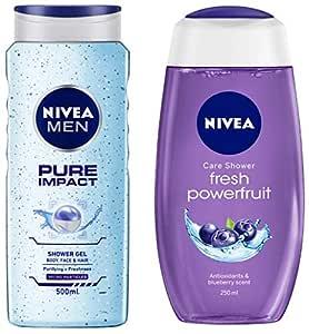 NIVEA MEN Hair, Face & Body Wash, Pure Impact Shower Gel, 500ml & Shower Gel, Powerfruit Fresh, 250ml Combo
