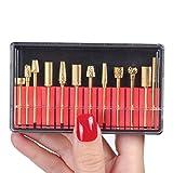 MAKARTT 12Pcs 3/32'' Elektronische Goldig Karbid Nagelkunst Hilfsmittel Maniküre Schleifgeräte Zubehör Set Aufsätzen