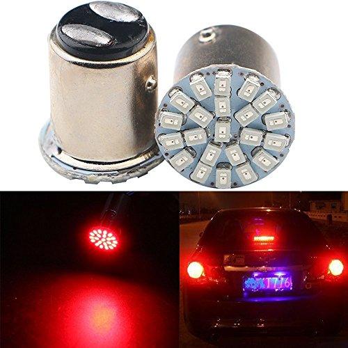 Grandview 2pcs 1157 Lampadine a LED, Super Luminoso Rosso 2057 2357 7528 BAY15D Lampadine a LED con 22 1206 SMD Sostituzione per Auto Luci di Coda Luci di Stop Luci di Segnalazione (DC 9-16V)