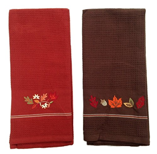 Design Imports DII Küche Handtuch-Set, Bestickt Handtücher, Harvest Vine & Fall Leaves (Burnt Orange Küchen-sets)