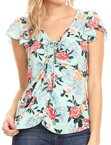 Sakkas 8917 - Ain Womens Short Sleeve V-Shirt Bluse mit Blumendruck und Krawatten - Minze