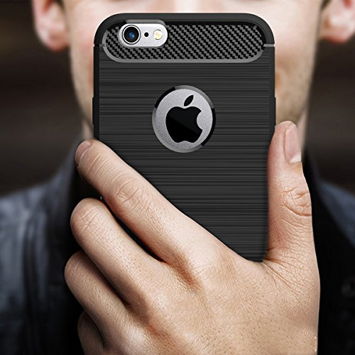 iPhone 6S (4.7 inches) Coque,COOLKE Fibre Carbone Soft TPU Shell Cover case Protection Etui Housse pour Apple iPhone 6/ iPhone 6S (4.7 inches) - Saphir Gris