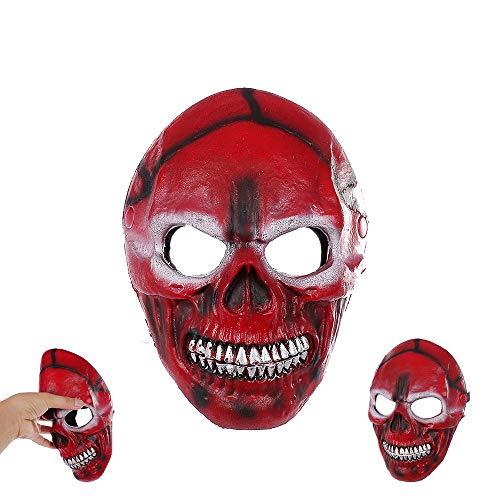 LSSLSS SchäDelmaske SchäDel Alle Verdeckte Gesichtsmaske Halbes Gesicht Skelettmaske Halloween Outdoor Sport Kopfbedeckung , BlutschäDelmaske/Weich, Frei Zu Biegen Und Nicht Verformen,Red -