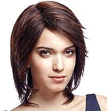 Meylee ParruccheBreve rettilineo parrucca sintetica per le donne nere misto marroni capelli parrucca traspirante Rose Net con cinghie regolabili 1 libero parrucca Cap e un pettine parrucca