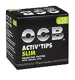 OCB ActivTips Slim - Filtros de carbón Activo con Tapas de cerámica (4 Paquetes de 50 Unidades)